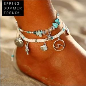 Bohemian starfish shell anklet